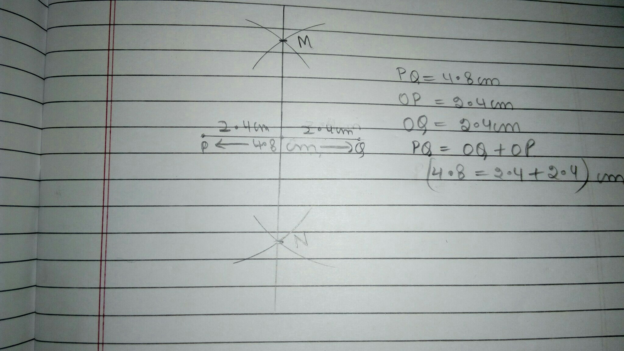 Draw A Line Segment Pq 4 8cm Construct The Perpendicular Bisector Of