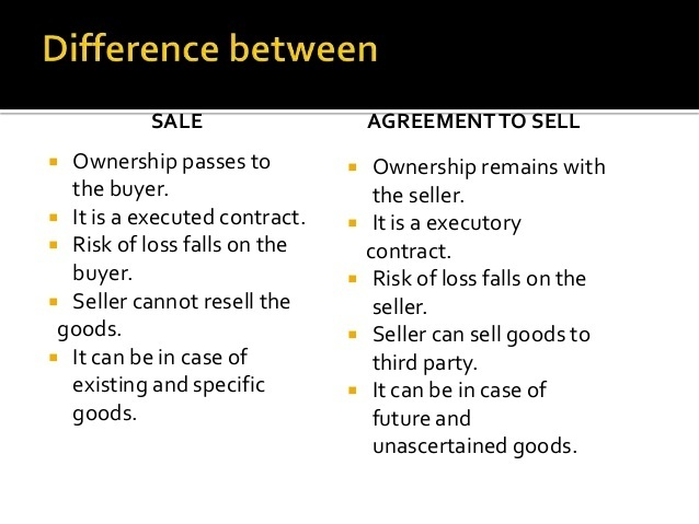Define Sale And An Agreement To Sell Brainly