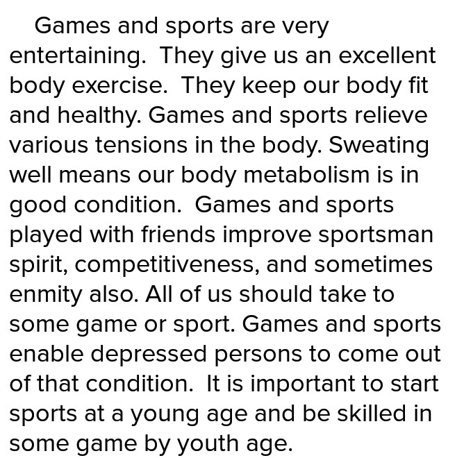 paragraph about sports in our life