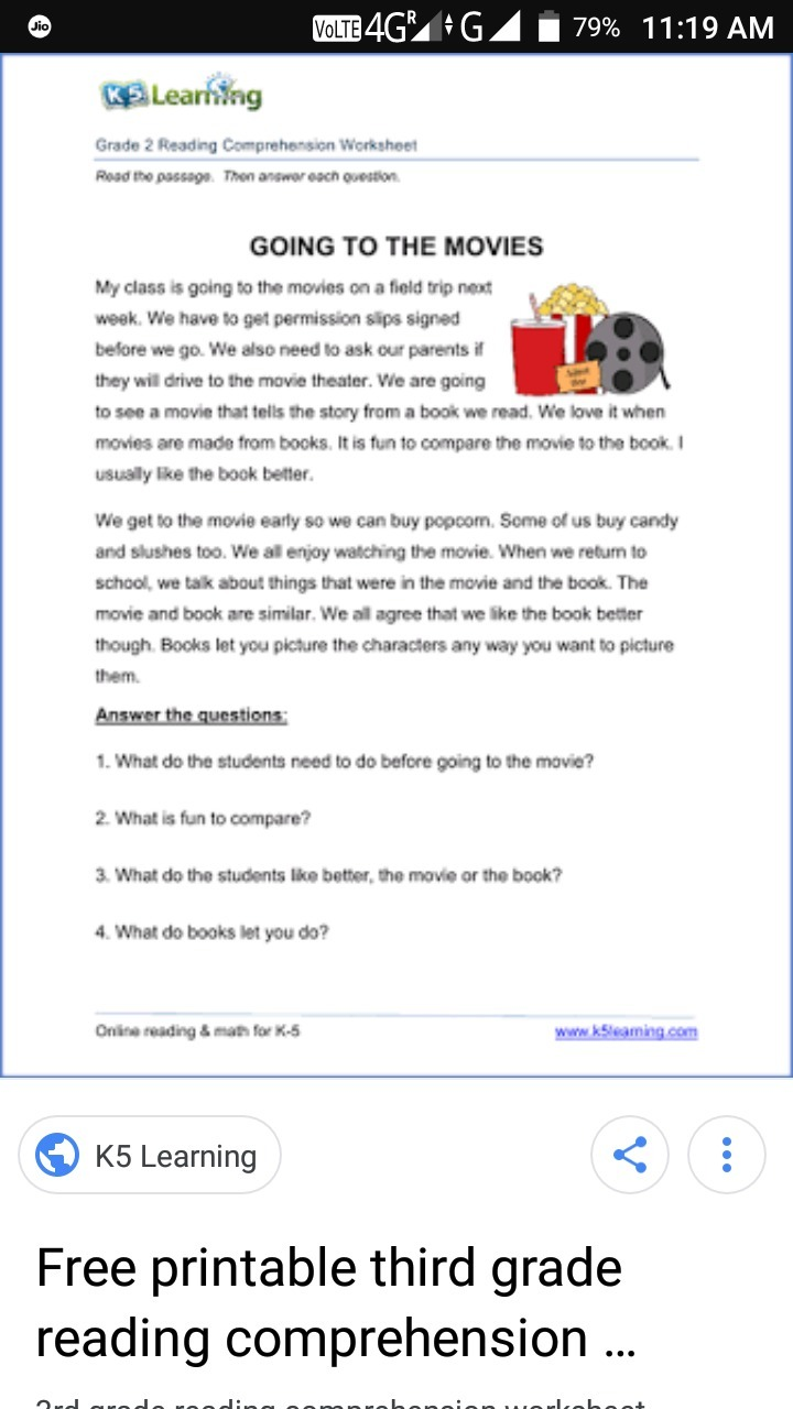 comprehension passages for grade 3 - Brainly.in