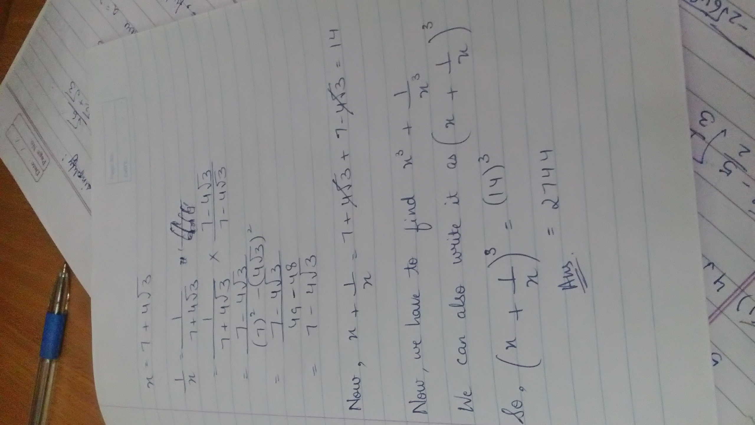 if x is equals to 7 + 4 root 3 find the value of bracket x