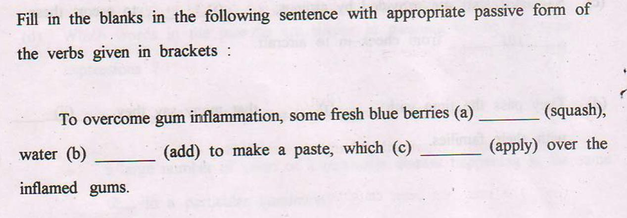 Fill in the blanks in the following sentences with