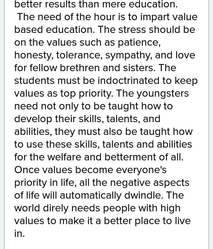 easy essay on value of education