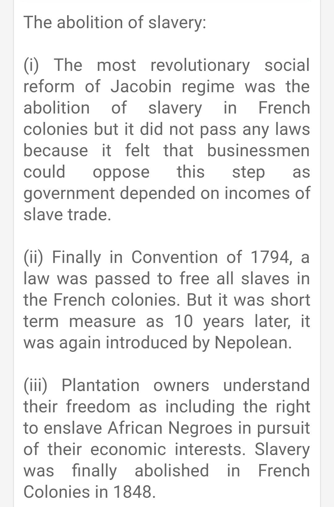 When was slavery finally abolished in france