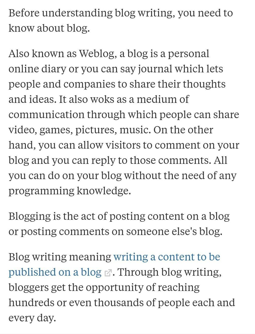 what is meaning of blog writing   Brainly.in