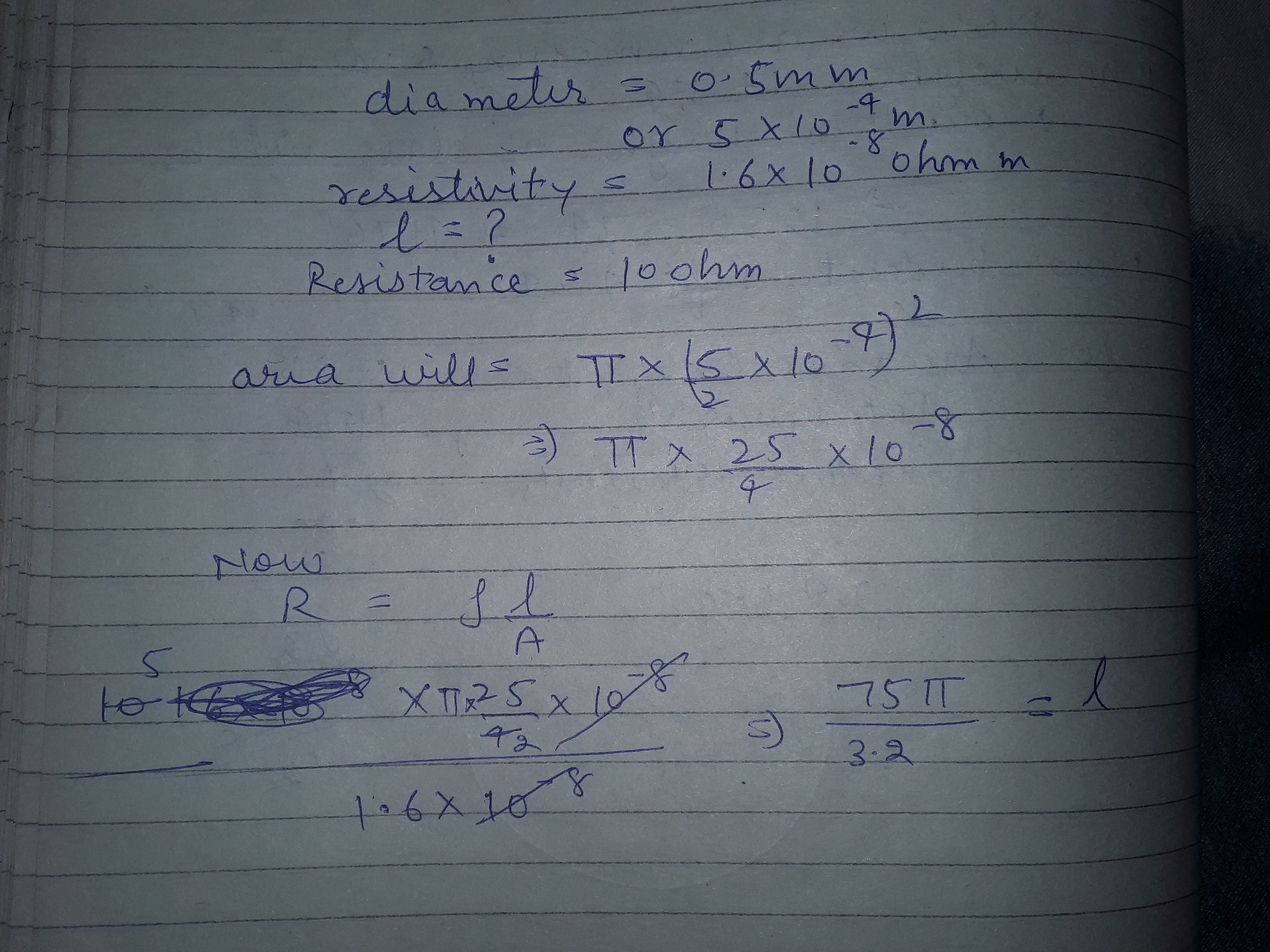 A copper wire has diameter 0.5mm and resistivity 1.6x10^-8ohm m what ...