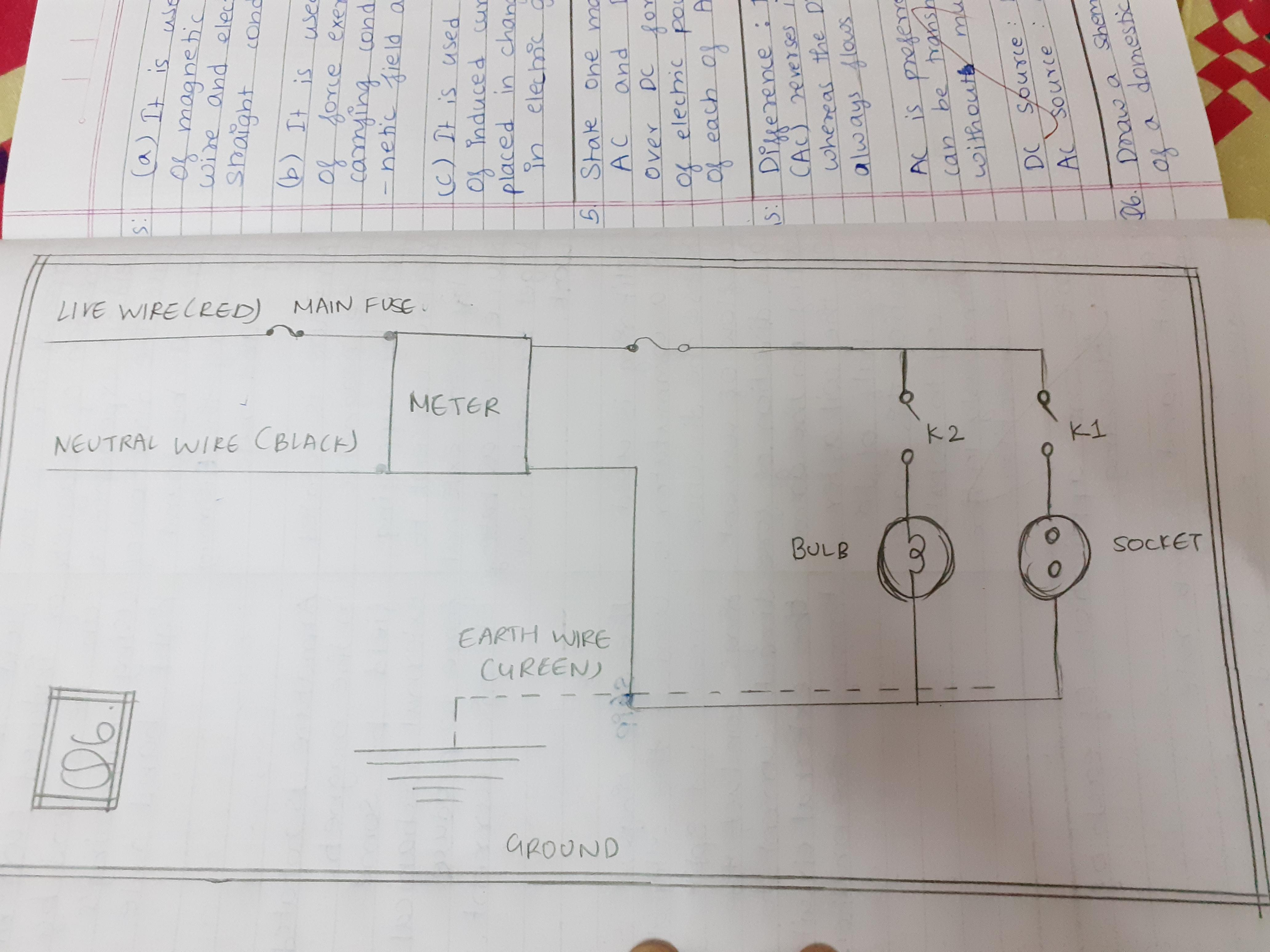 Draw A Schematic Labelled Diagram Of A Domestic Circuit Which Has A Provision Of A Main Fuse Meter One Brainly In
