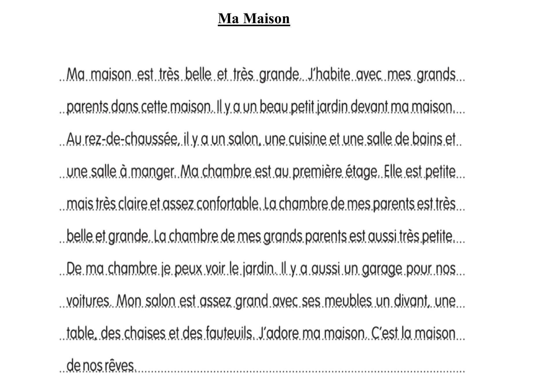 french essay on ma maison with  words   brainlyin