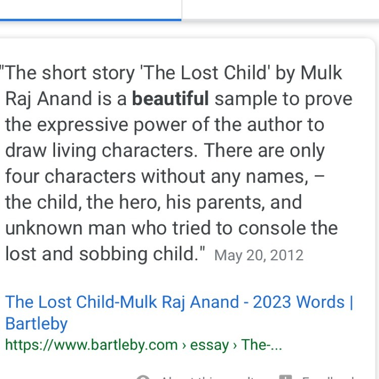essay of the lost child by mulk raj anand