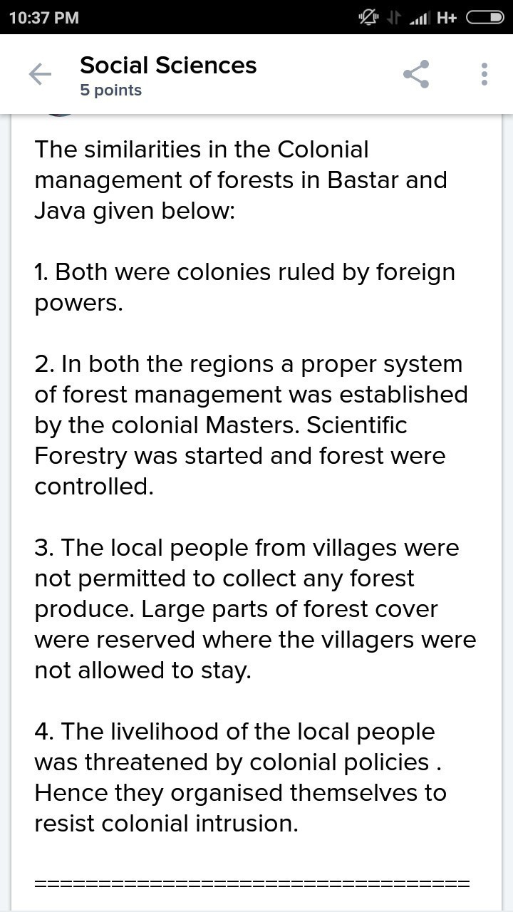 Compare the forest managment in java and bastar  - Brainly in