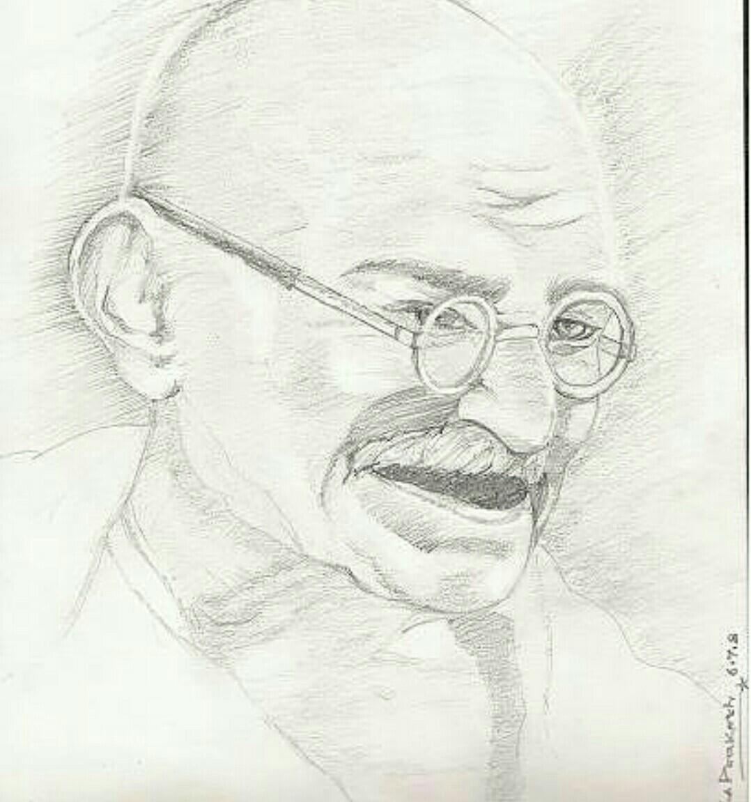 Draw The Sketch Of Mahatma Gandhi Brainly In