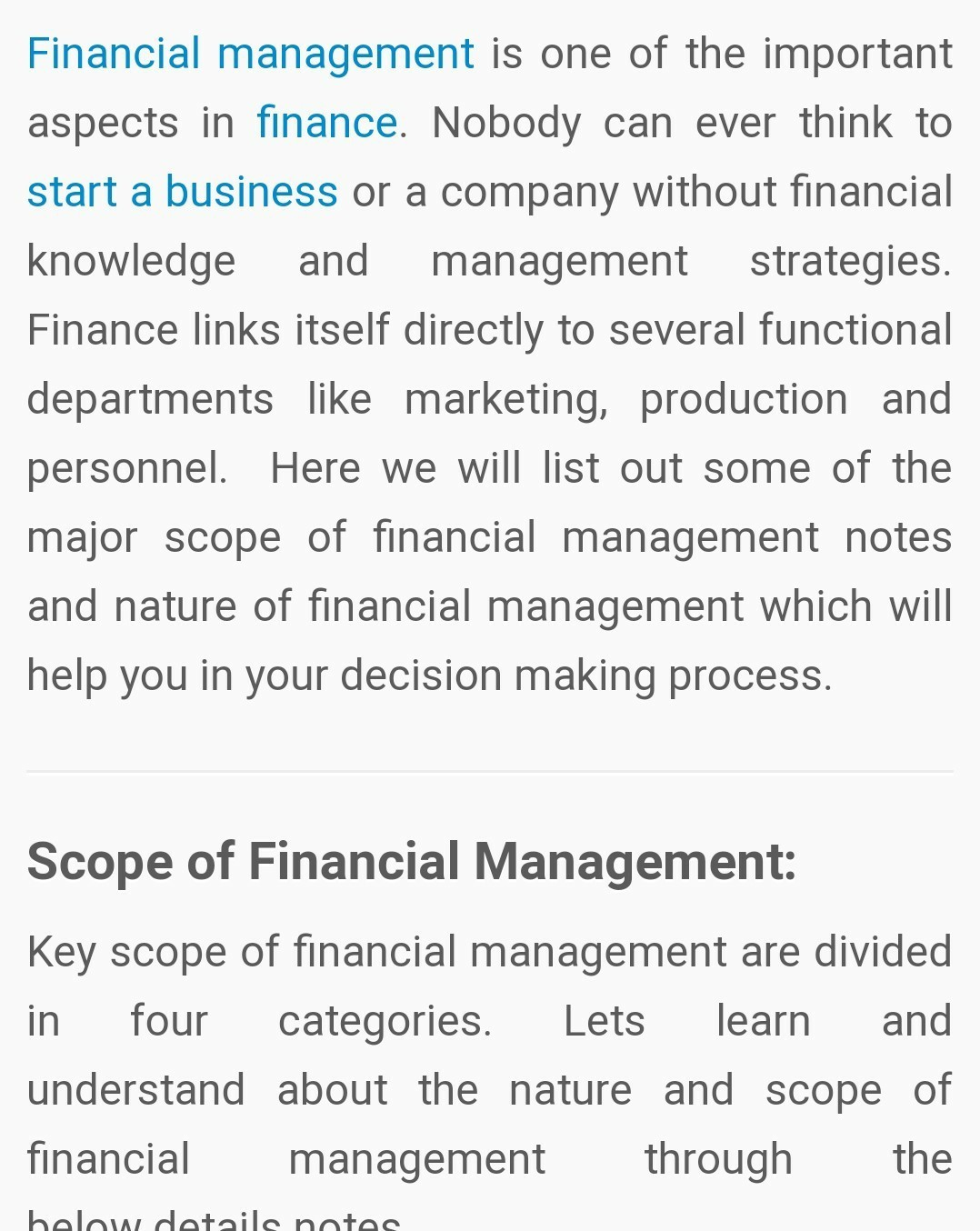 nature and scope of finance