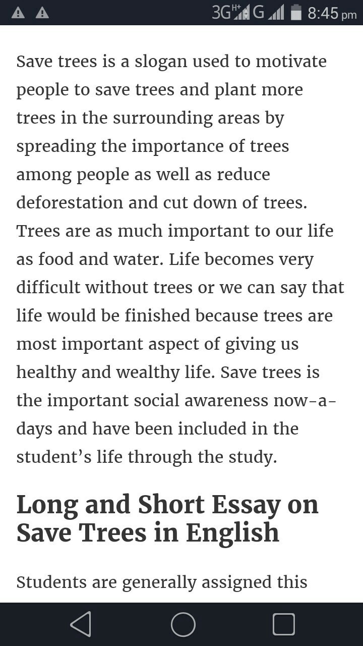 Essay on save trees save earth in english
