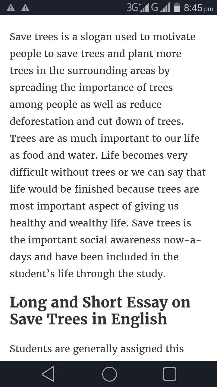 saving the trees essay