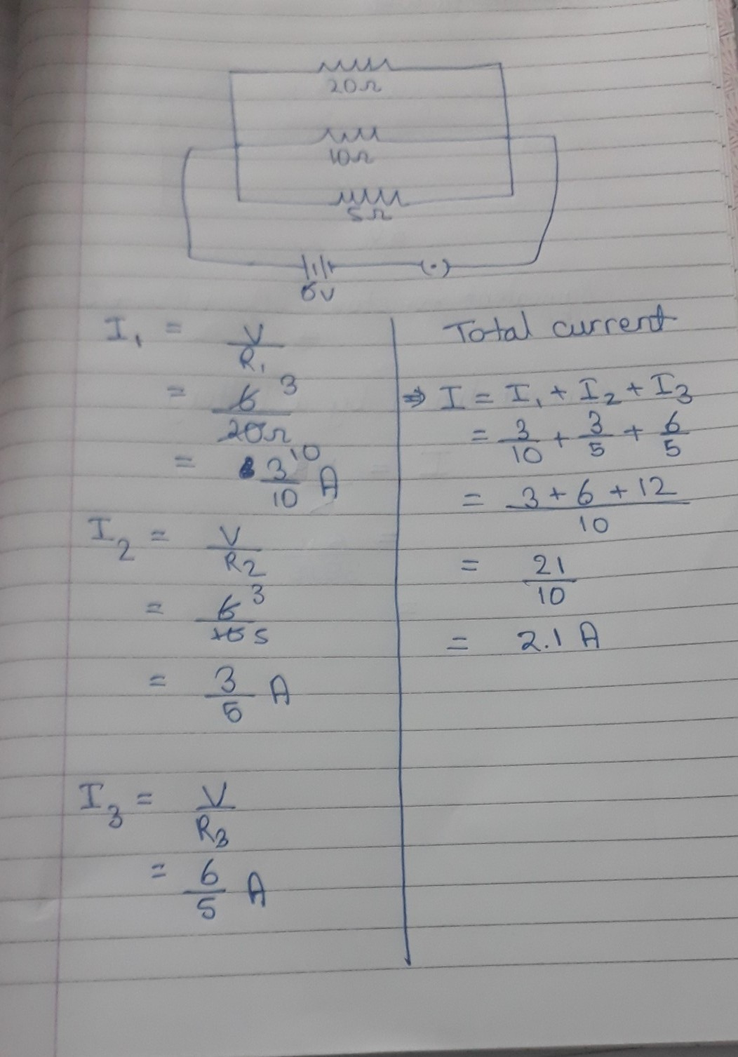 for the given circuit three resistors 20 ohms 10 ohms and ...