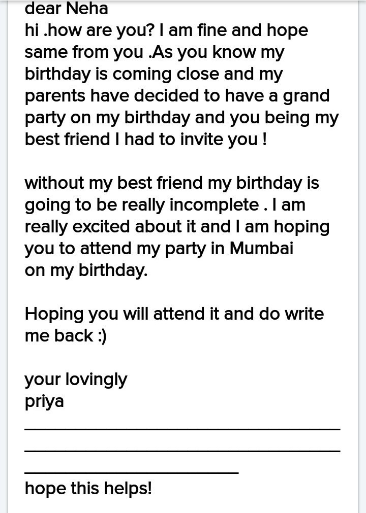 write letter to friend for inviting in your birthday