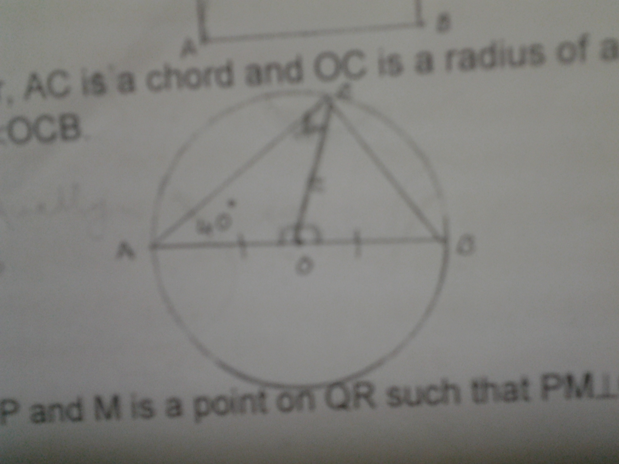 In the given figure ab is a diagram diameter ac is a chord and oc is download jpg ccuart Image collections