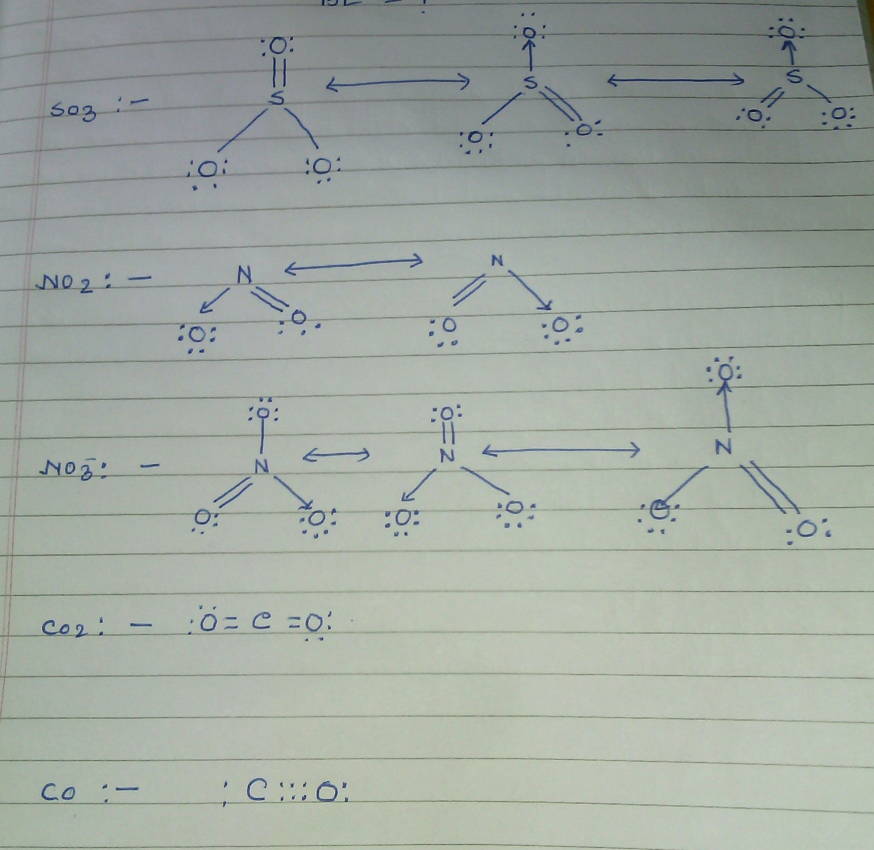 write the resonance structures for so3 no2 and no3 co2. Black Bedroom Furniture Sets. Home Design Ideas