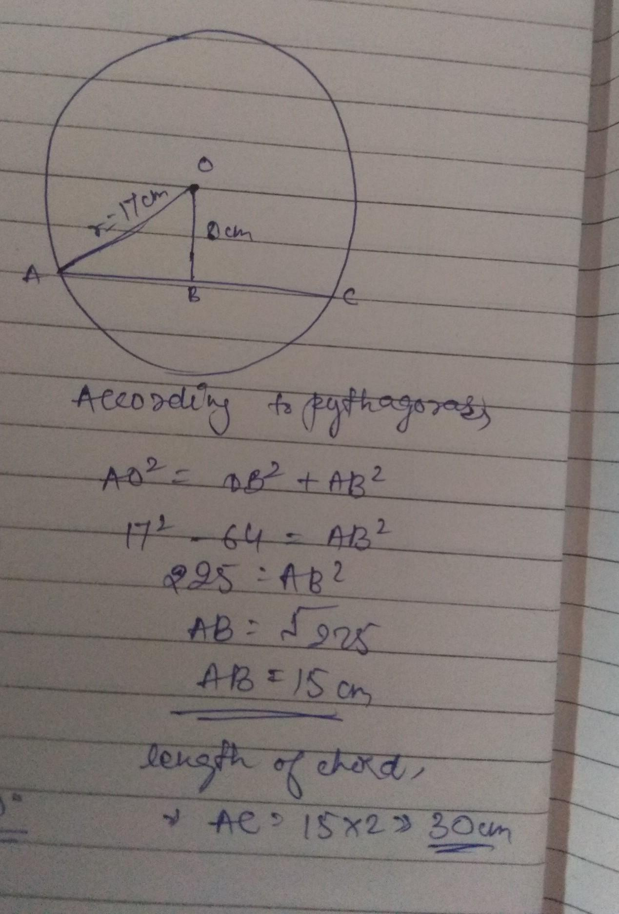A chord is at a distance of 15cm from the centre of a circle of ...