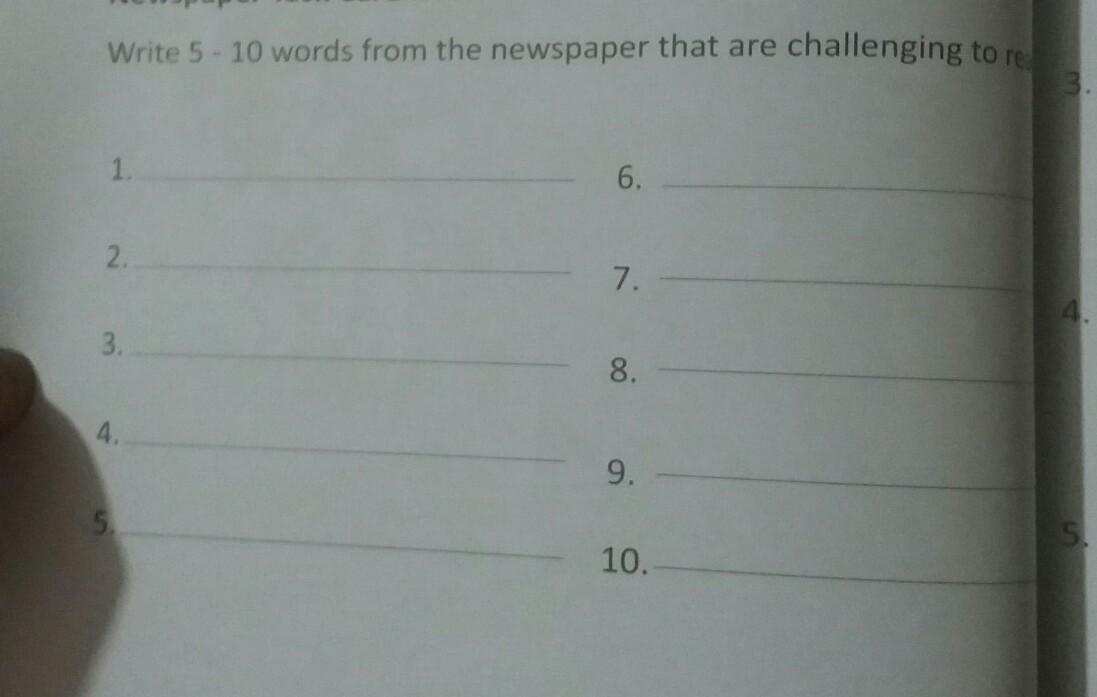 pls do this and pick 5 words from newspaper and write a sentence for