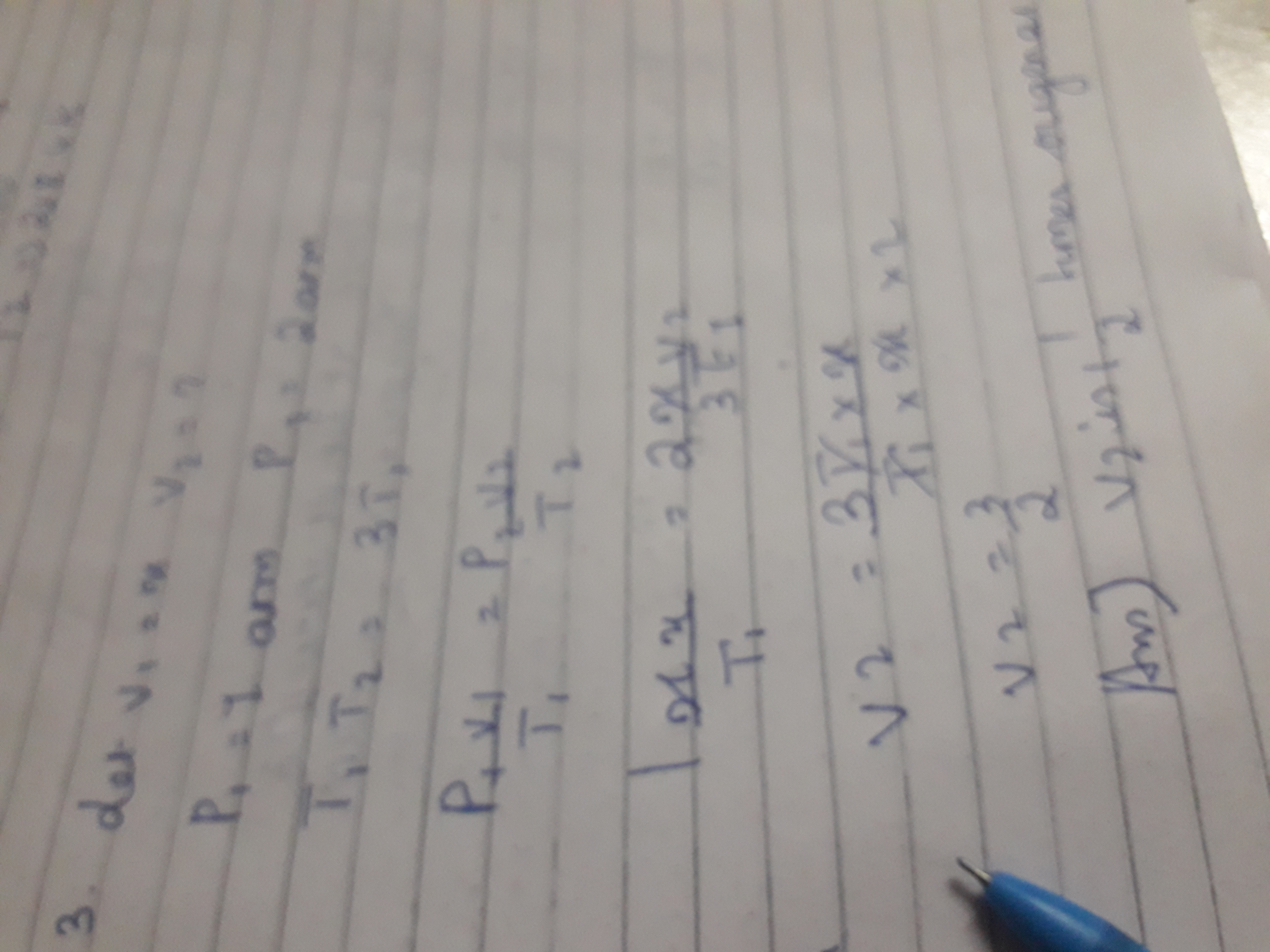calculate the final volume of a gas x if the original pressure of