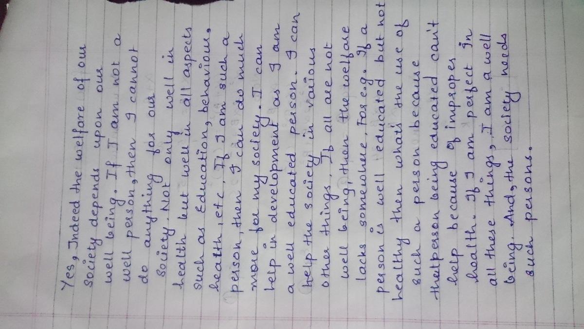 essay on responsibility towards society