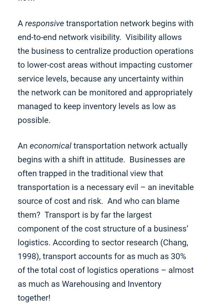 Role and importance of transportation in supply chain management