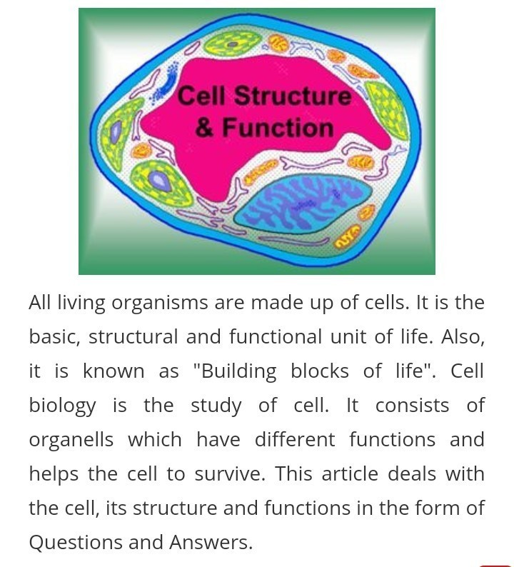 question and answer for cell structure - Brainly in