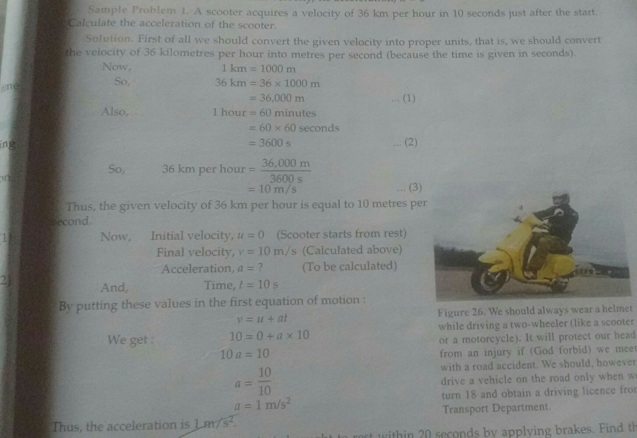 Example problem related to speed velocity and acceleration