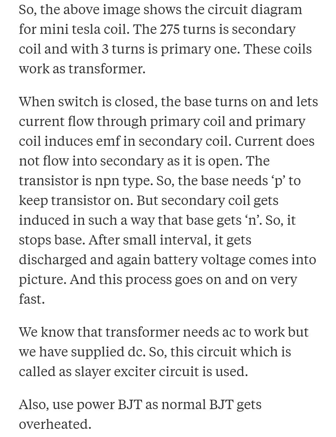 Can someone please tell me the working of mini tesla coil