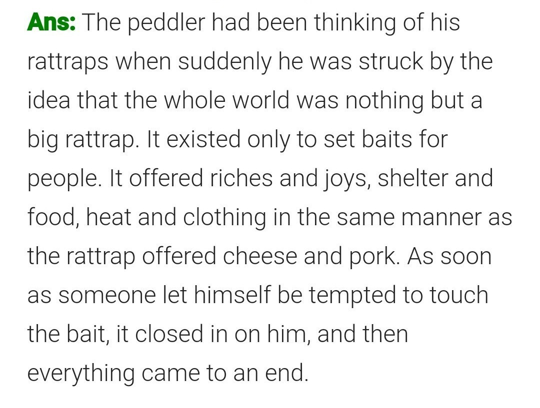 How did the peddler get out of the rattrap he had fallen