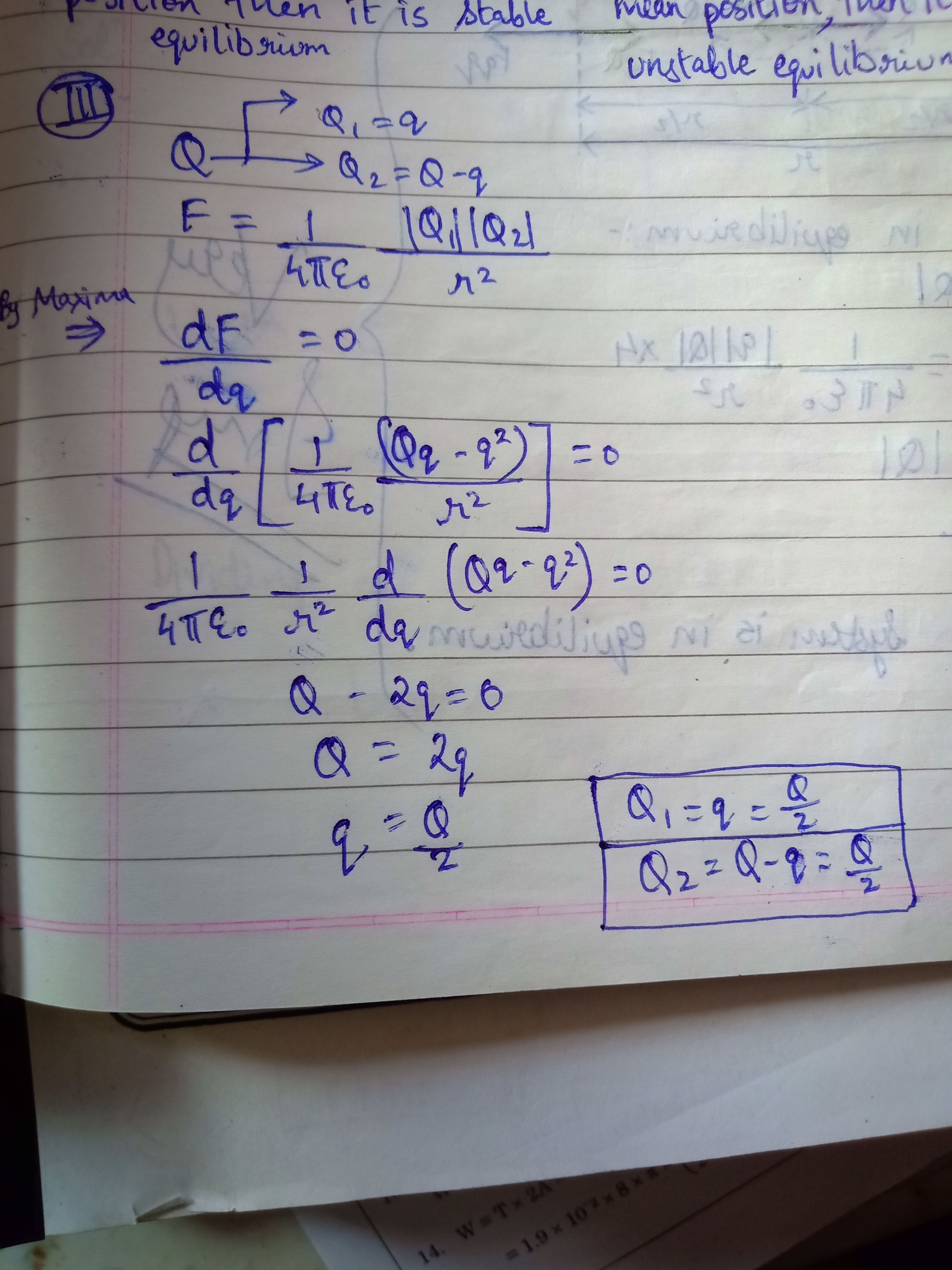 A Charge Q Is Divided Into Two Parts Q And Q Q What Is The Value Of Q For Maximum Force Between Them Brainly In