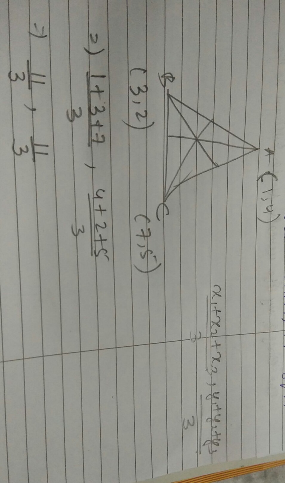 A(1,4)B(3,2)&C(7,5) are vertices of a triangle ABC. Find ...