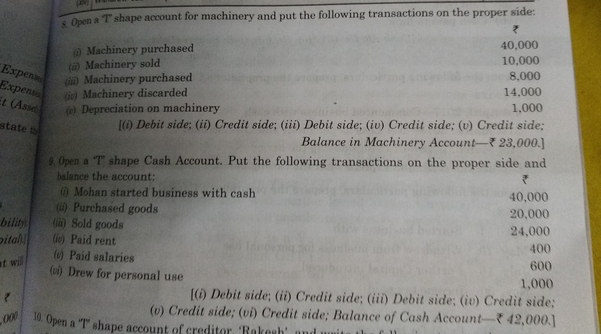 Class 11th Accounts question!!!!Solve question no 8 and 9