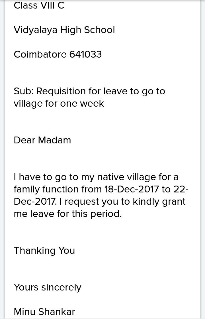 Leave Application Letter For Going To Village - GET AN ESSAY OR ANY