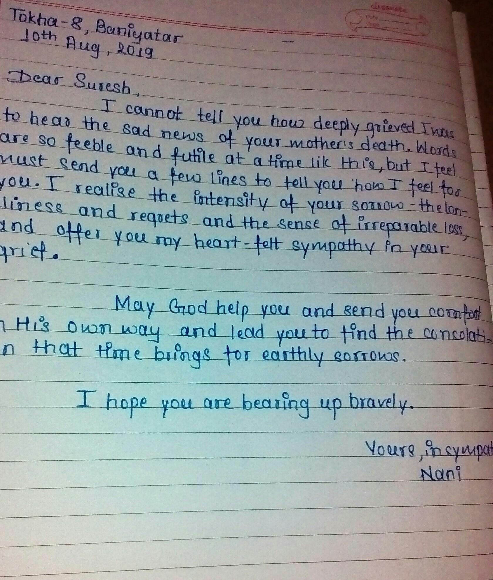 condole the death of a friends mother write a condolence