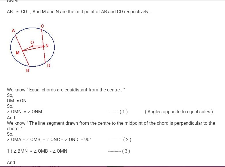 M And N Are The Mid Point Of Two Equal Chords Ab And Cd Respectively