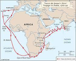 vasco da gama sea route map Locate The Sea Route Of Vasco Da Gama From Portugal To India In vasco da gama sea route map