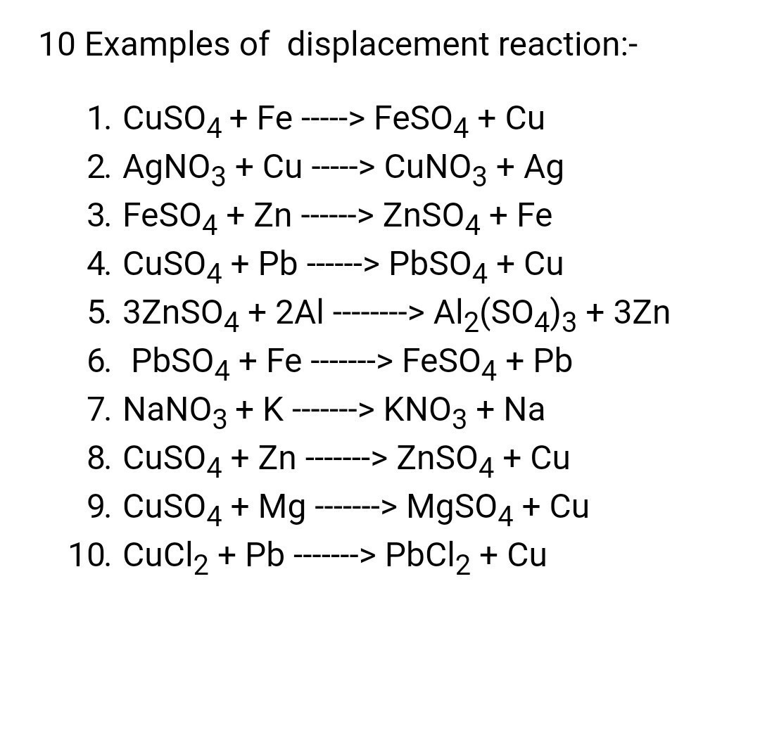 40 Example Of Displacement Reaction Brainly