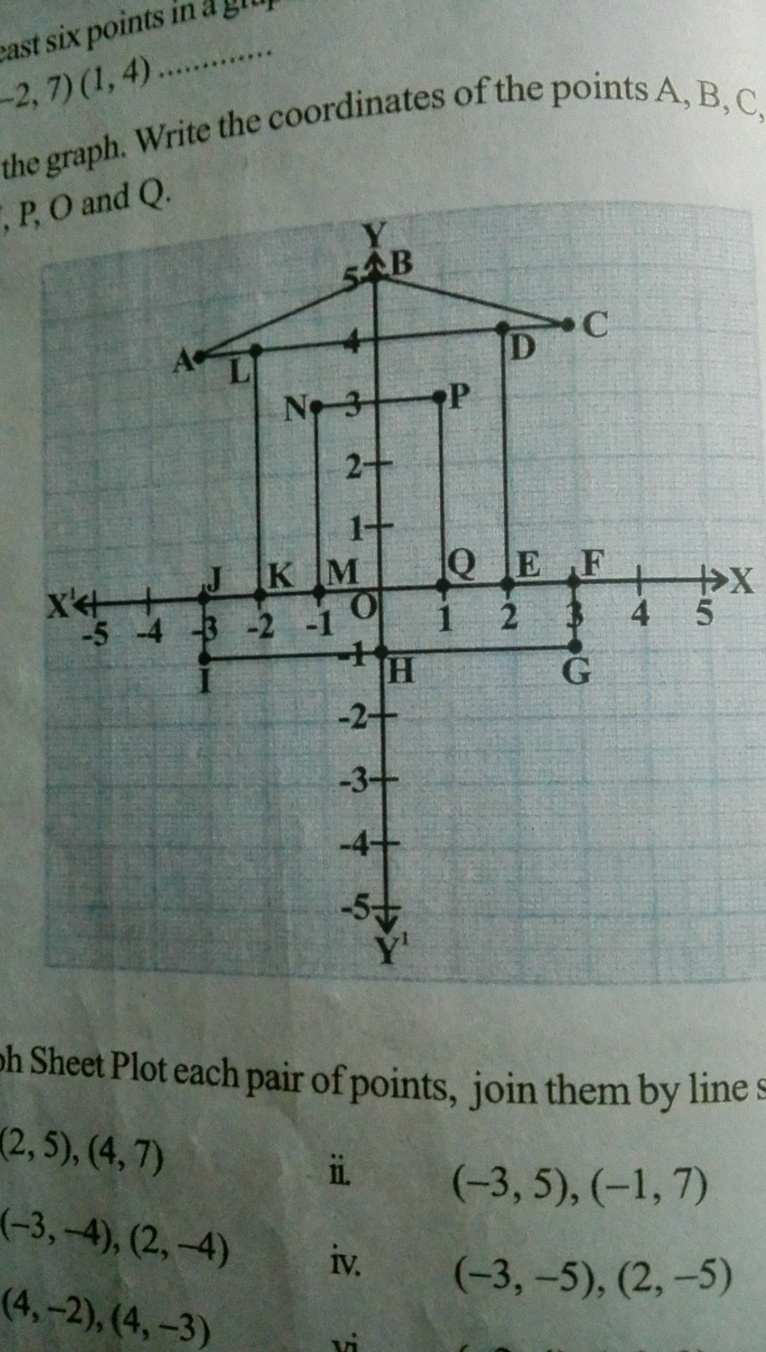 plot a rectangle which lies in first quadrant has origin as one ...