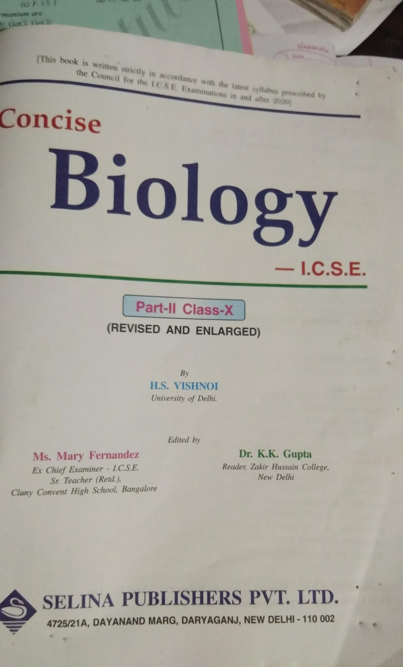 who is the writer of 10th class ICSE board biology book
