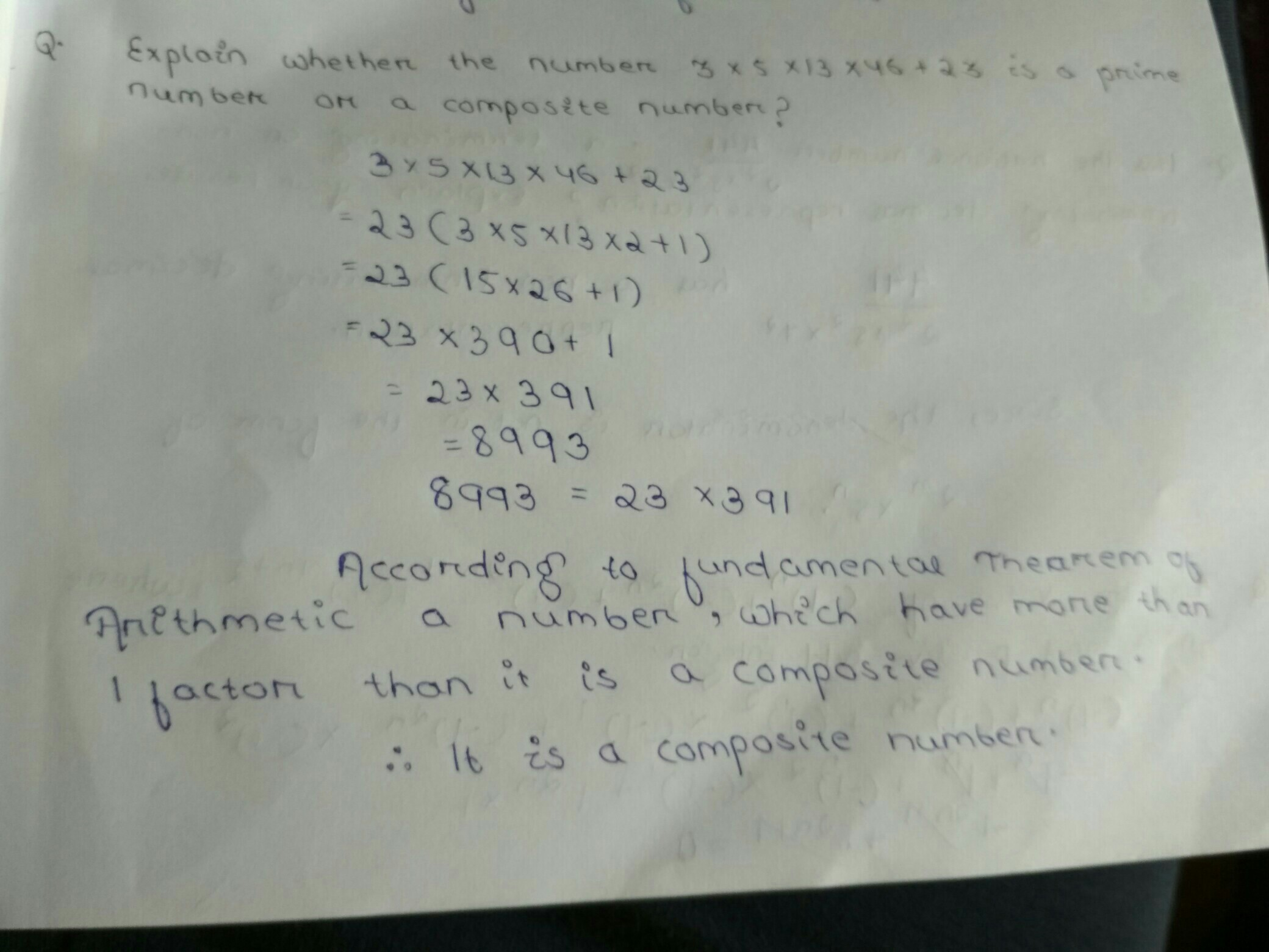 explain whether the number 3×5×13×46+23 is a prime number or