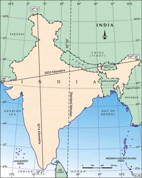 On A Physical Map Of India Mark The Following I North South