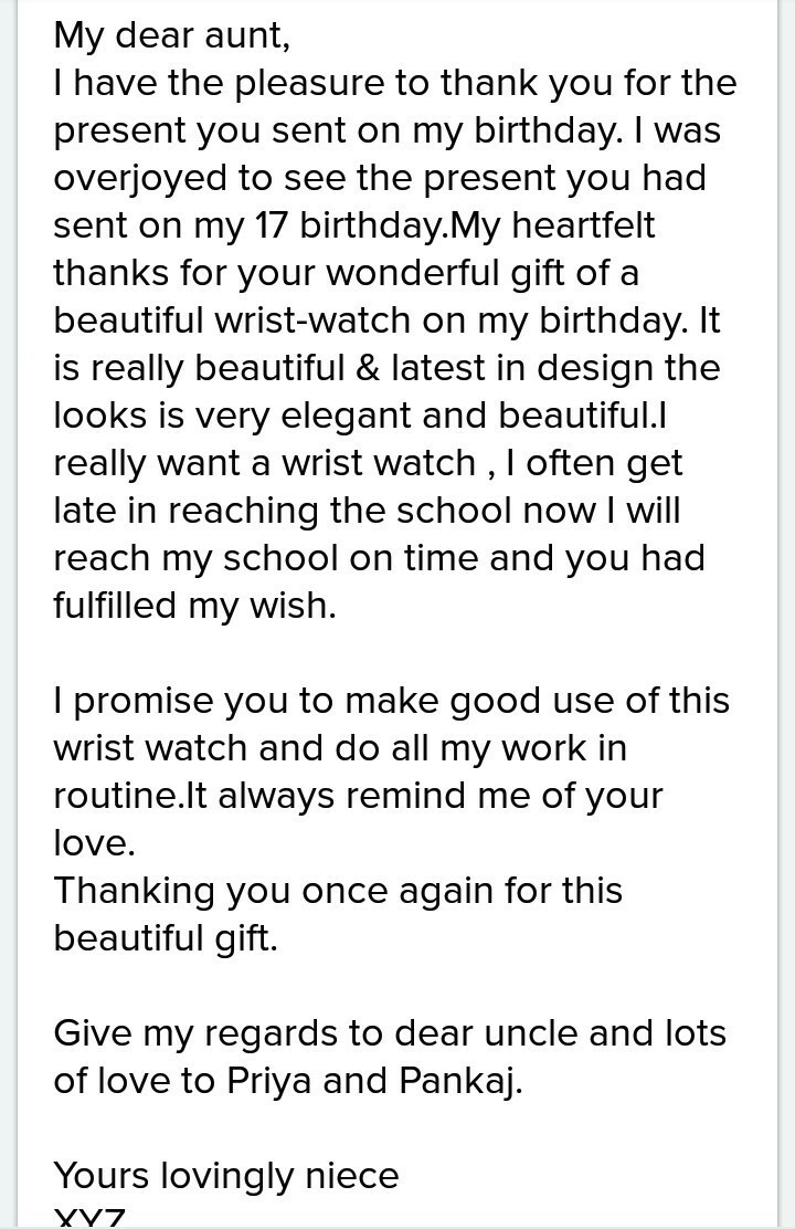 Write A Letter To Your Aunt For Thanking Her For Birthday Gift