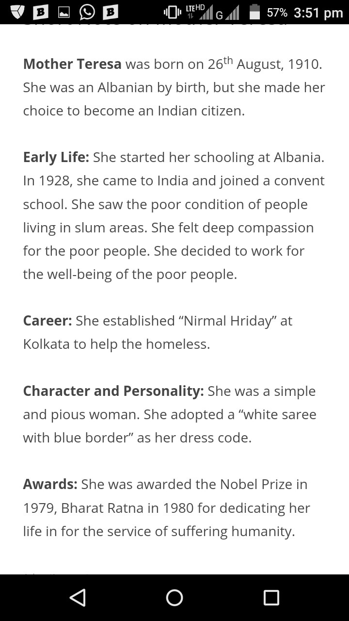 short information about mother teresa