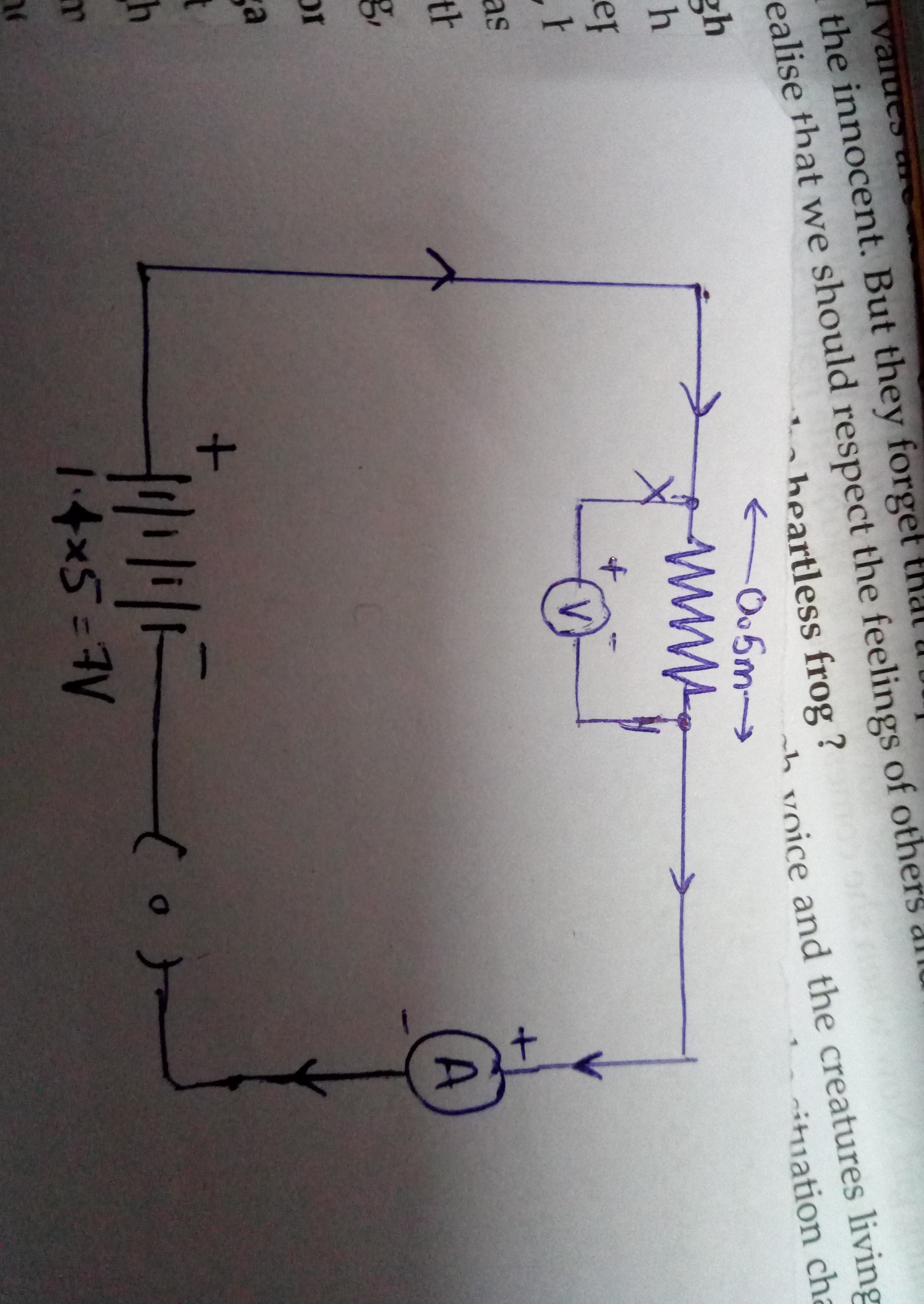 Draw A Close Circuit Diagram Consisting Of 05 M Nichrome Wire Xy Voltmeter Download