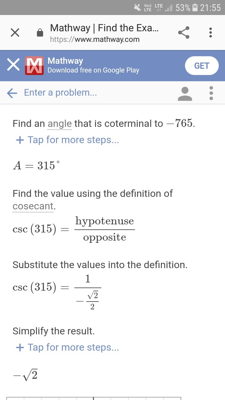 Find the value of cosec(-765) - Brainly.in