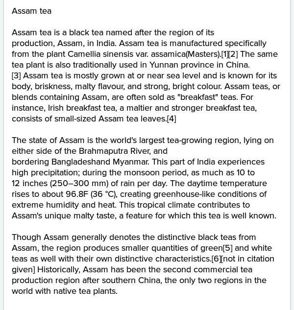 Tea From Assam All Question Answer