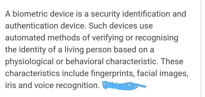 What is the use of biometric device  - Brainly in