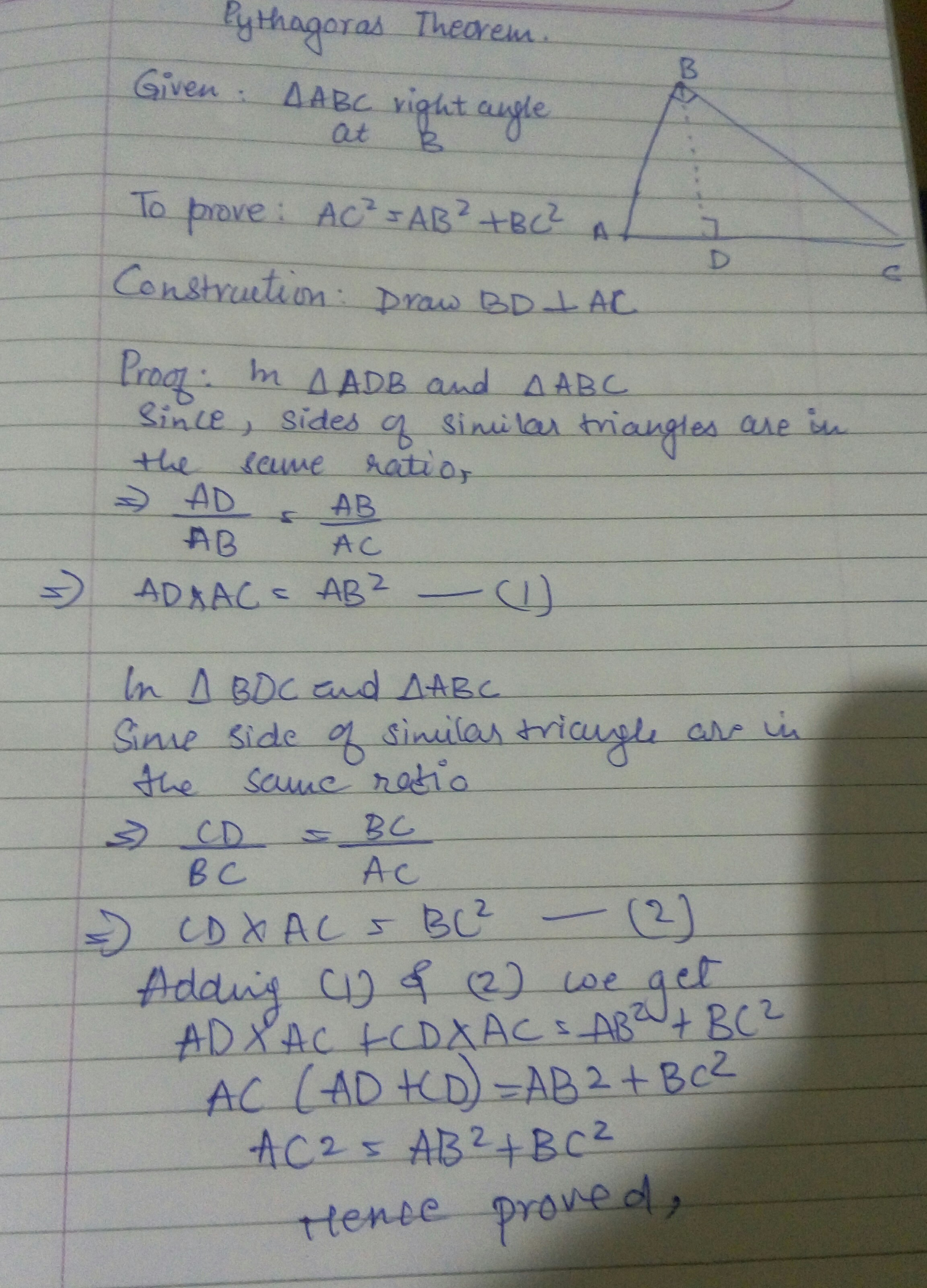 prove that converse of Pythagoras theorem Brainly.in